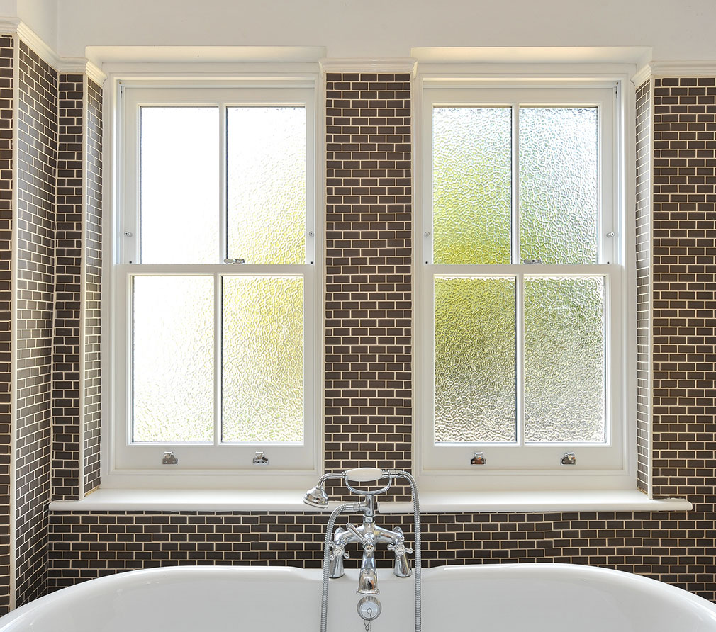 Bathroom sash windows